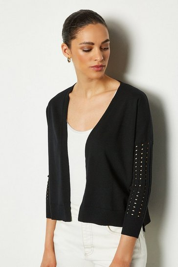 Black Edge To Edge Open Knit Cardigan