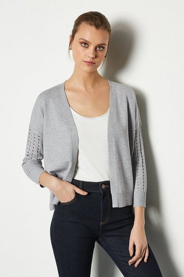 Grey Edge To Edge Open Knit Cardigan