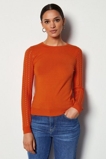 Orange Skinny Rib Open Stitch Jumper