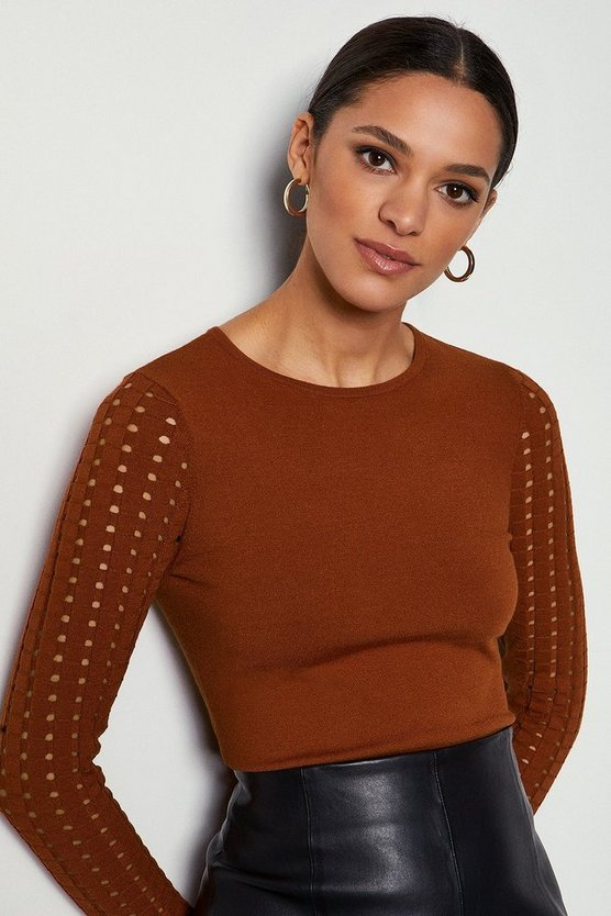 Rust Skinny Rib Open Stitch Jumper