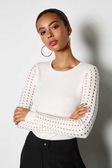 White Skinny Rib Open Stitch Jumper