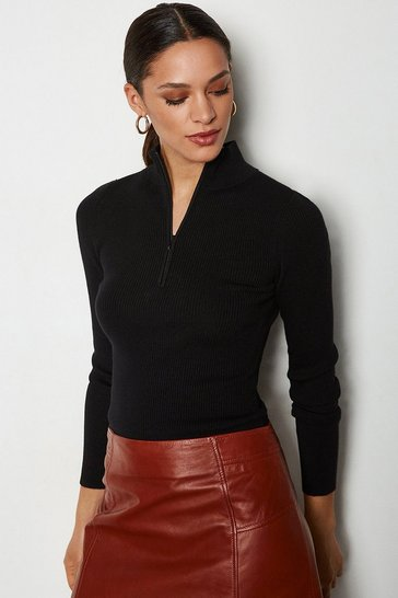 Black Zip Neck Skinny Rib Jumper