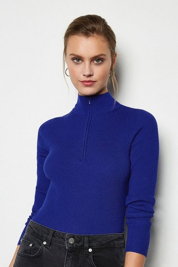 Blue Zip Neck Skinny Rib Jumper