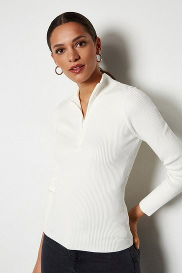 Ivory Zip Neck Skinny Rib Jumper