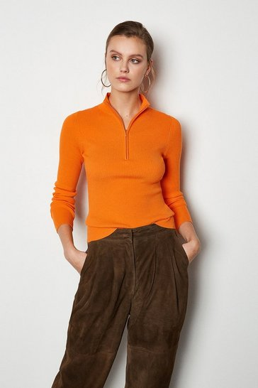Orange Zip Neck Skinny Rib Jumper
