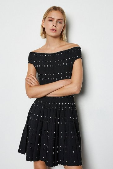 Black Bardot Dot Fit And Flare Knit Dress