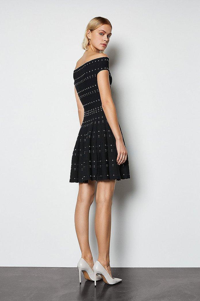 Bardot Dot Fit And Flare Knit Dress | Karen Millen