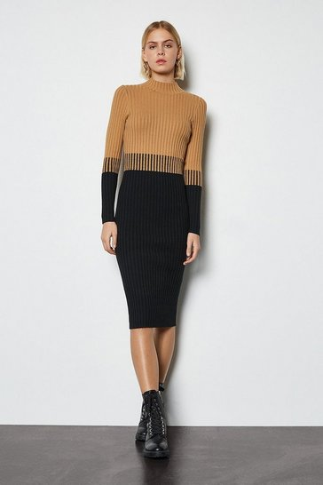 Black Colourblock Skinny Rib Knit Dress