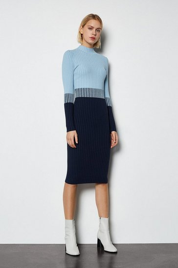 Blue Colourblock Skinny Rib Knit Dress