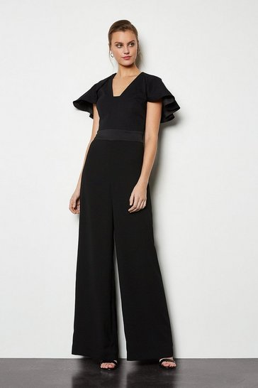 Black Sculpted Sleeve Jumpsuit