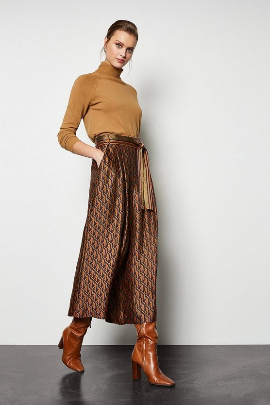Multi Jacquard Wide Leg Belted Trousers