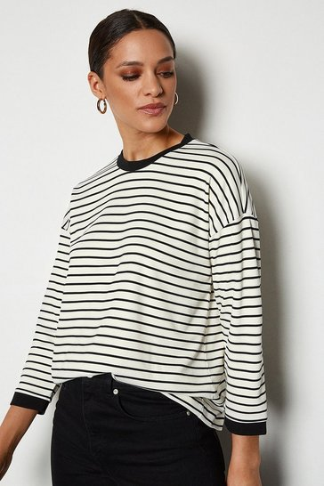 Multi Ponte Stripe 3/4 Sleeve Funnel Top