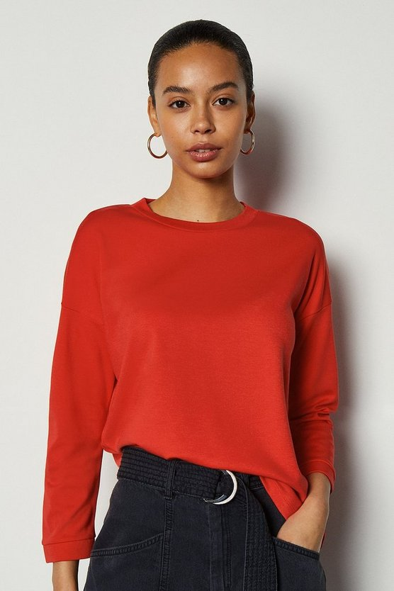 Red Ponte Stripe 3/4 Sleeve Funnel Top