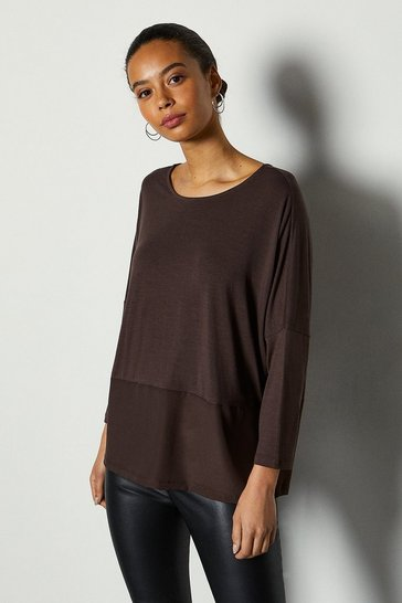 Chocolate 3/4 Sleeve Jersey Woven Mix Top