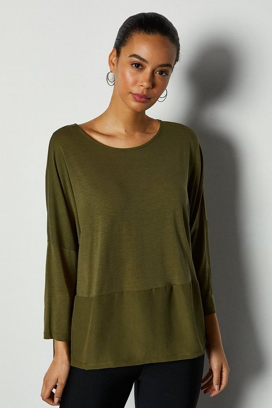 Khaki 3/4 Sleeve Jersey Woven Mix Top