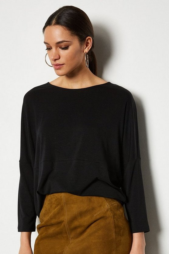 Black 3/4 Sleeve Jersey Cocoon Shape Top