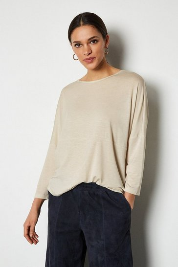 Stone 3/4 Sleeve Jersey Cocoon Shape Top