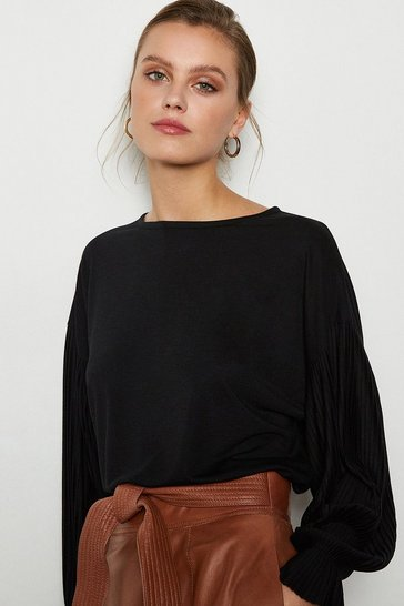 Black Pleat Long Sleeve Jersey Top