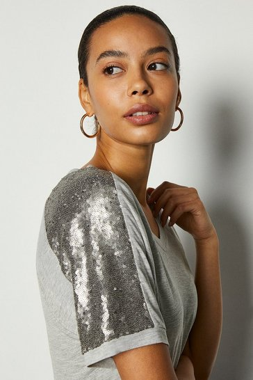 Grey marl Sequin Shoulder Short Sleeve Jersey Top