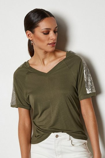 Khaki Sequin Shoulder Short Sleeve Jersey Top
