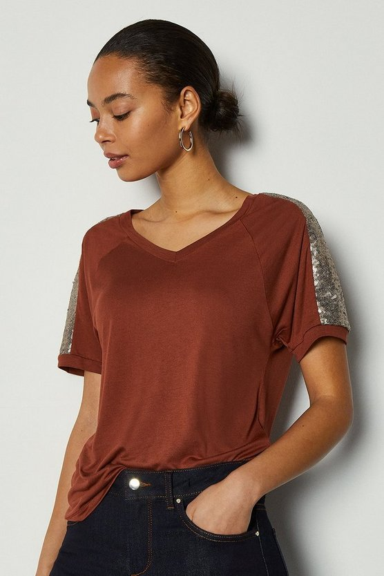 Rust Sequin Shoulder Short Sleeve Jersey Top