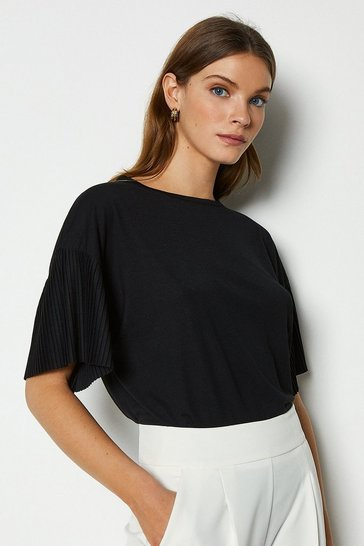 Black Pleat Sleeve Jersey Top