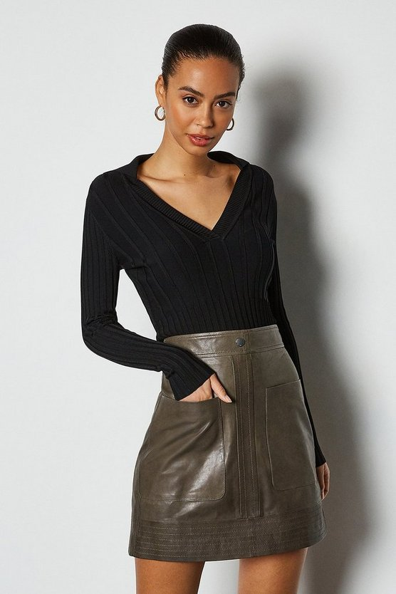 Charcoal Leather Pocket Mini Skirt