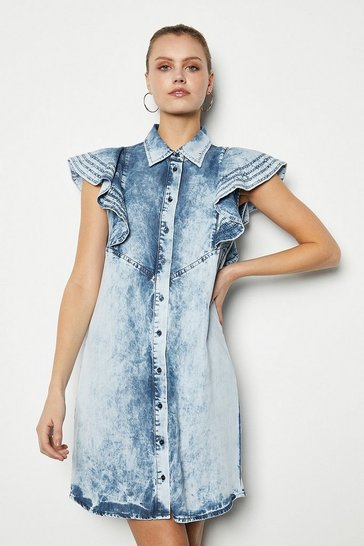 Blue Soft Acid Wash Frill Sleeve Dress