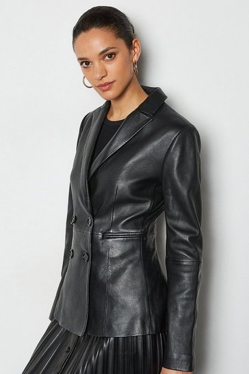 Black Leather Double Breasted Blazer