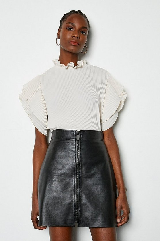 Black Leather Zip Front Mini Skirt