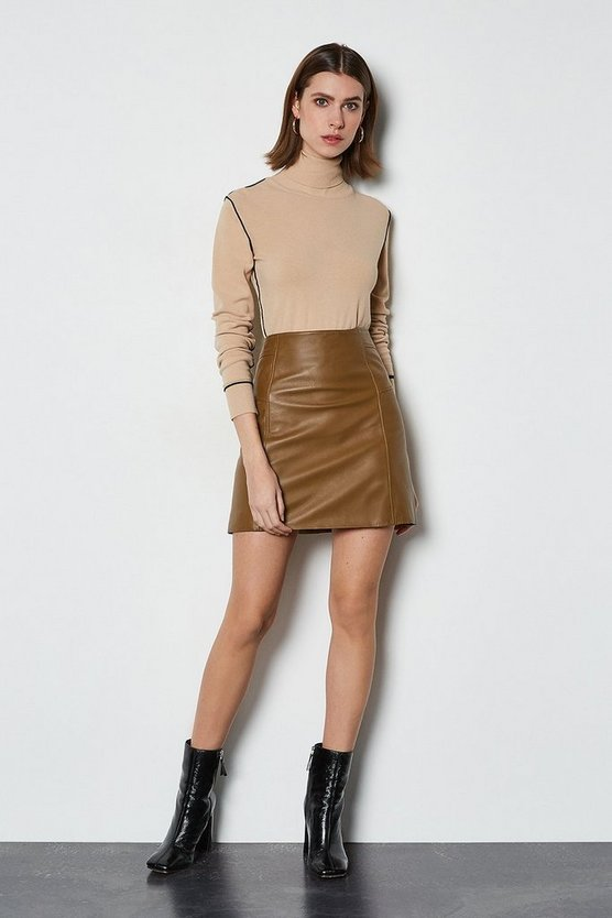 Tan Nubuck Leather Mini Skirt