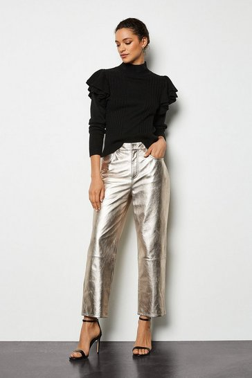 Metallic gold Metallic Leather Straight Leg Crop Trouser