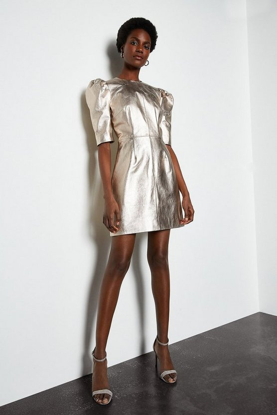 Metallic gold Metallic Leather Rouched Shoulder Dress