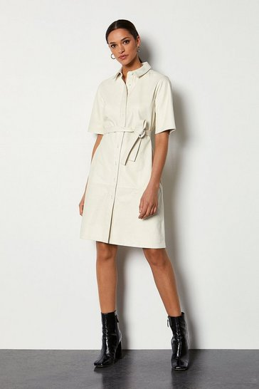 Ivory Belted Leather Tennis Dress