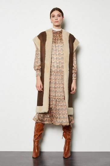 Brown Reversible Longline Sheepskin Gilet