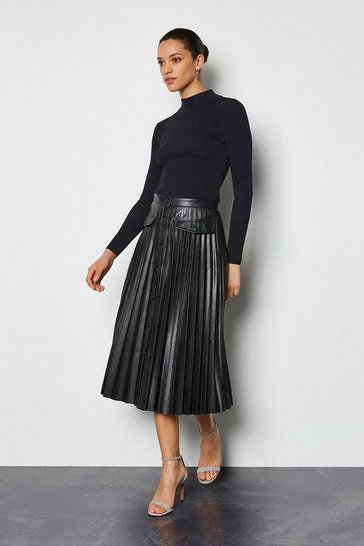 Black Pleated Faux Leather Popper Front Midi Skirt