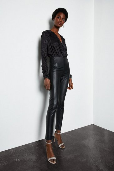 Womens Black Faux Leather Legging