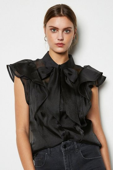 Black Organza Tie Neck Blouse