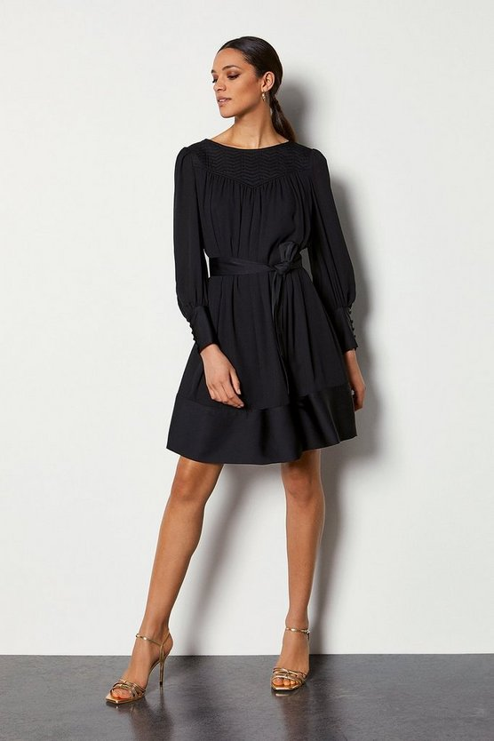 Black Quilted Yoke Tunic Dress