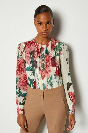 Cream Rose Print Pintuck Blouse