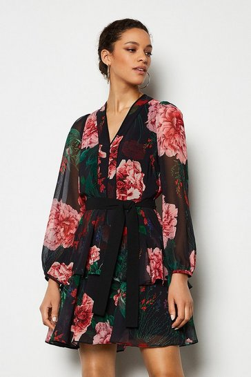 Multi Rose Print Dress