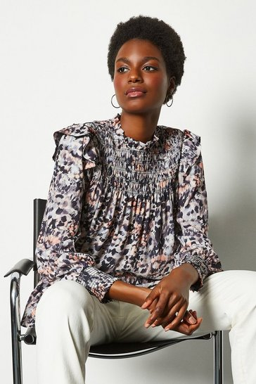 Leopard High Neck Blouse With Shirring Detail