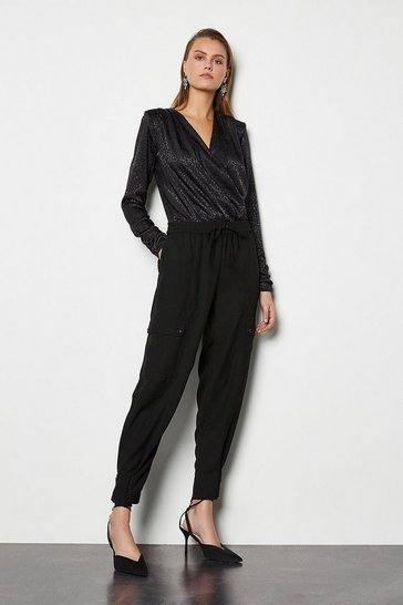 Black Button Cuff Utility Trouser