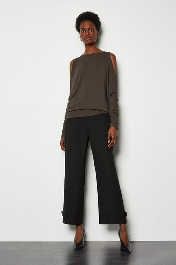 Black Button Hem Trousers