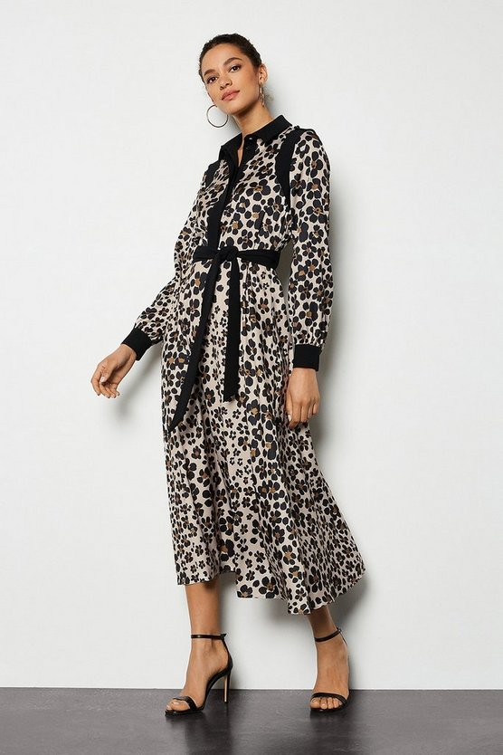 Brown Leopard Daisy Print Shirt Dress