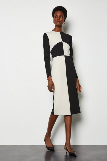 Blackwhite Ponte Monochrome Pencil Dress