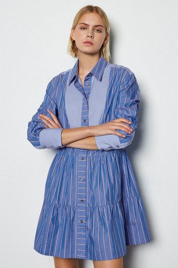 Stripe Tiered Long Sleeve Shirt Dress