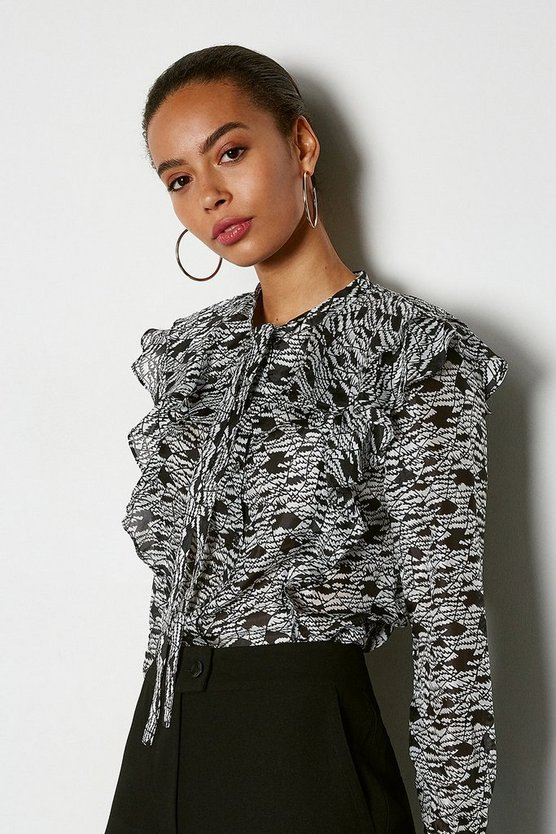 Black Mono Print Long Sleeve Ruffle Blouse