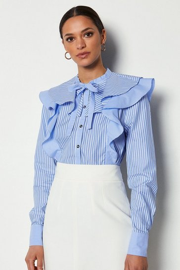 Cotton Stripe Long Sleeve Ruffle Blouse