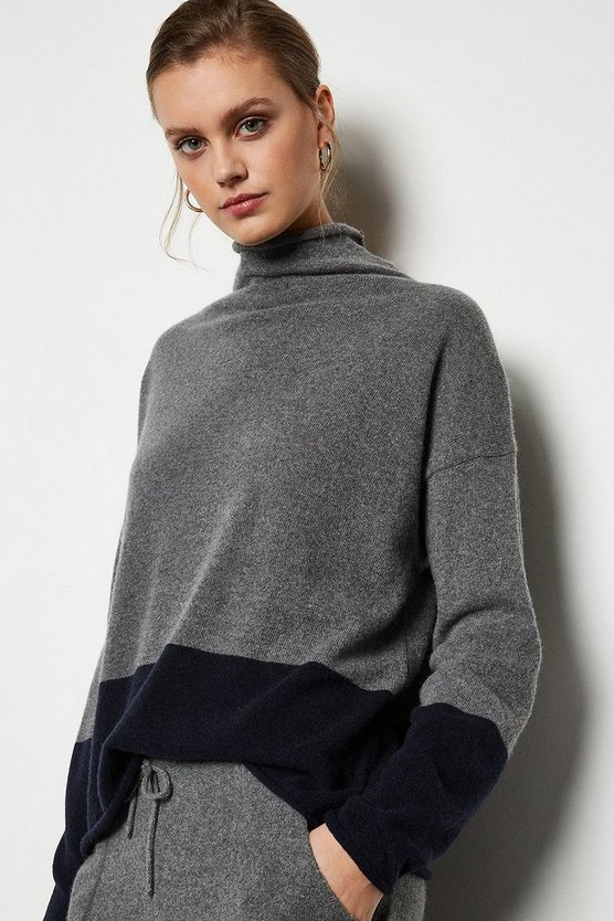 Multi Recycled Cashmere Mix Colourblock Jumper